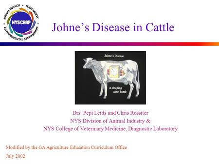 Johne's Disease in Cattle Drs. Pepi Leids and Chris Rossiter NYS Division of Animal Industry & NYS College of Veterinary Medicine, Diagnostic Laboratory.