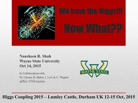 We have the Higgs!!! Now What?? Nausheen R. Shah Wayne State University Oct 14, 2015 In Collaboration with: M. Carena, H. Haber, I. Low & C. Wagner arXiv:1510.xxxxx.