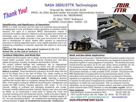 NON-PROPRIETARY DATA NASA SBIR/STTR Technologies Identification and Significance of Innovation Technical Objectives and Work Plan NASA and Non-NASA Applications.