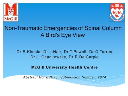 Non­-Traumatic Emergencies of Spinal Column A Bird's Eye View.