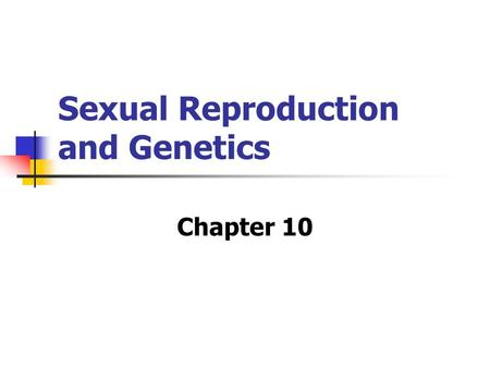 Sexual Reproduction and Genetics Chapter 10. 10.1: Meiosis MAIN IDEA: Meiosis produces haploid gametes.