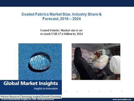 © 2016 Global Market Insights, Inc. USA. All Rights Reserved  Coated Fabrics Market Size, Industry Share & Forecast, 2016 – 2024 Coated.