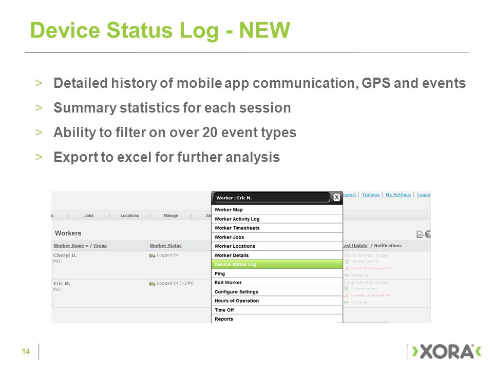 >Battery Level Indicator >Battery Level Alerts >Device Status Log DEMO – Device Insights 15