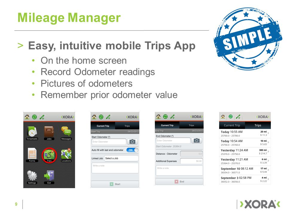 >Powerful Analysis and reporting Trips list and details Validate mileage information View trip on a map Out of the box reports Mileage Manager 10