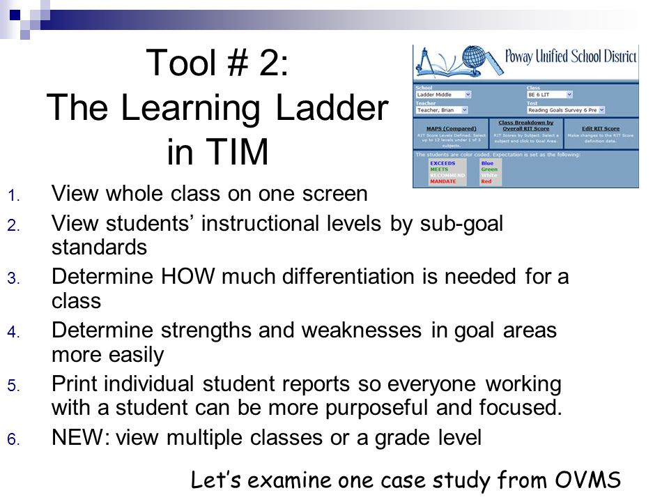 In TIM choose the Learning Ladder…
