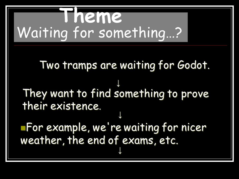 We're waiting all the time.