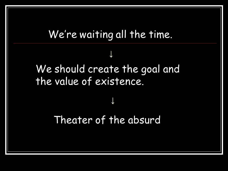 The Theatre of the Absurd The term theater of the absurd derives from the philosophical use of the word absurd by such existentialist thinkers as Albert CAMUS and Jean Paul SARTRE.