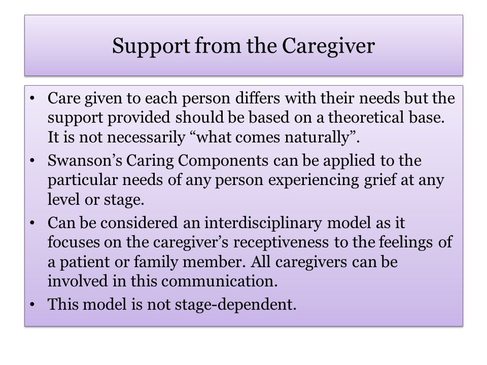 Swanson's Caring Components Knowing: the deliberate effort to understand an event as it has meaning in the life of the patient.