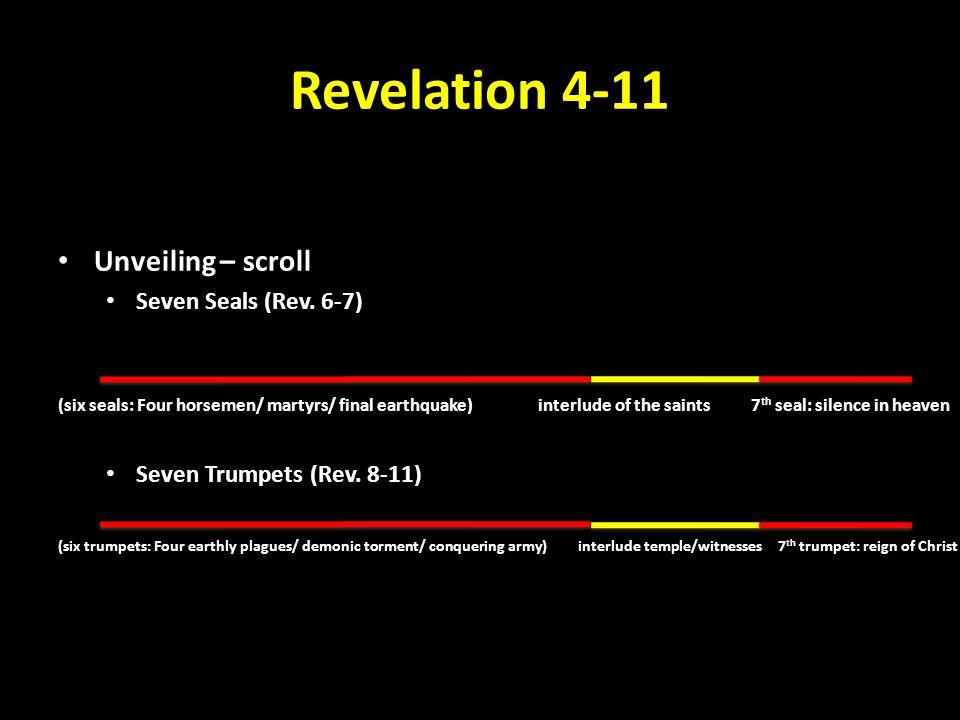 Heavenly Interlude 144,000 – Rev. 7:1-8 Great Multitude – Rev. 7:9-17 Two Witnesses – Rev. 11:1-14