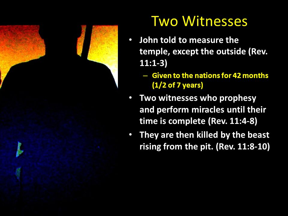 Two Witnesses John told to measure the temple, except the outside (Rev.