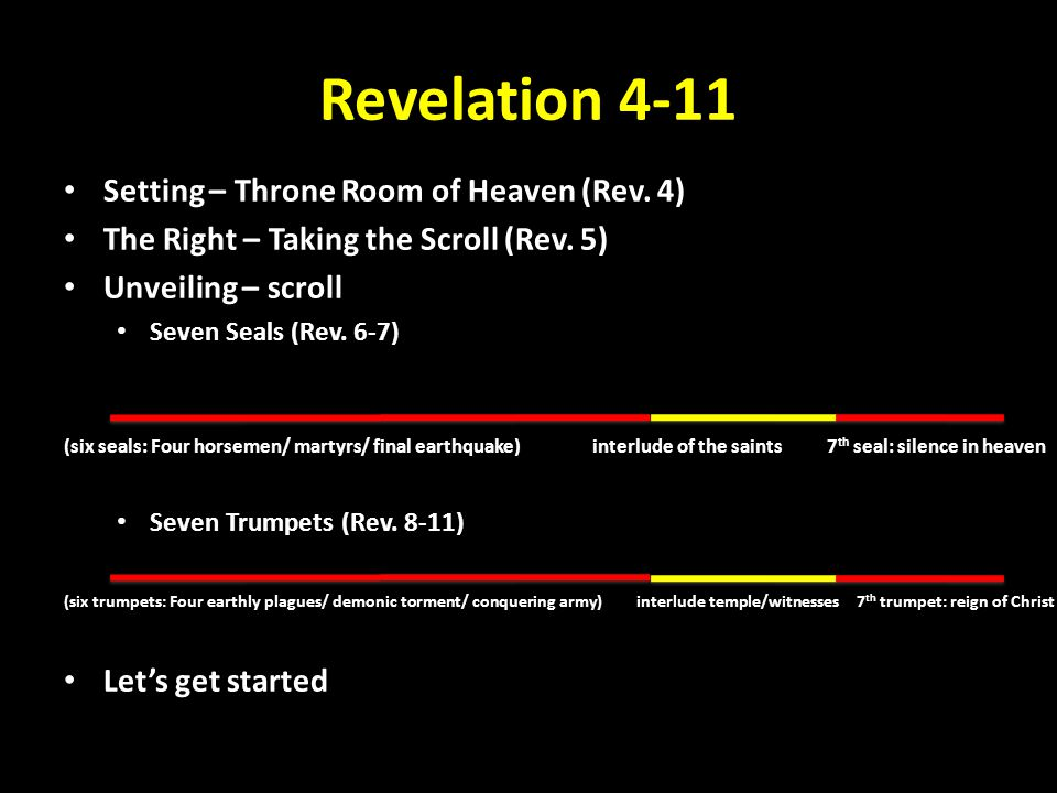 Revelation 4-11 1 After this I looked, and behold, a door standing open in heaven.