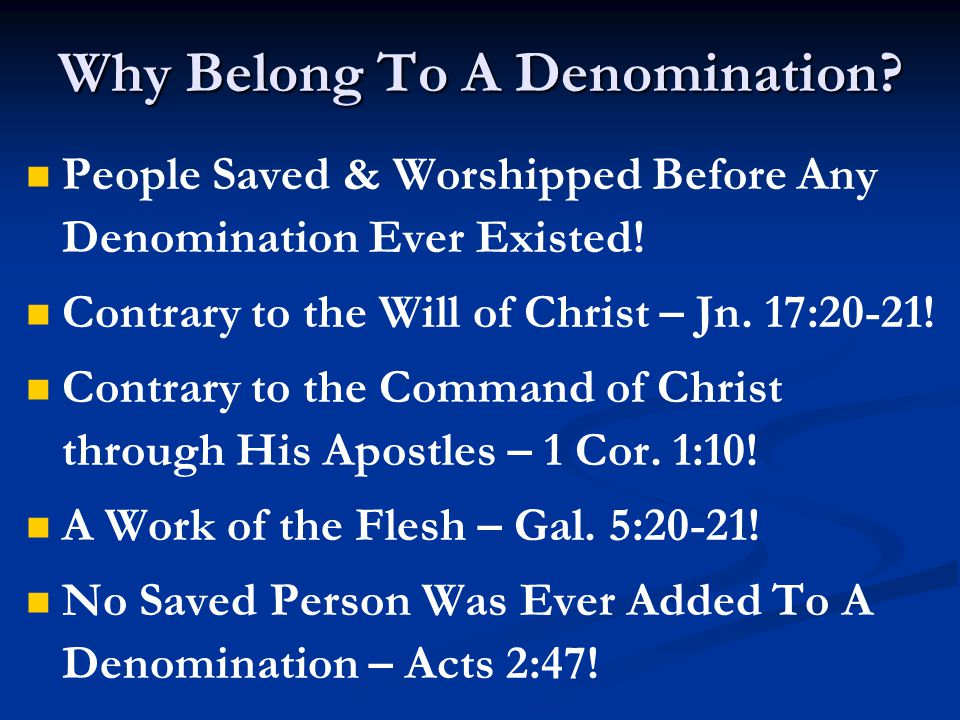 Did God Plant Denominational Churches.