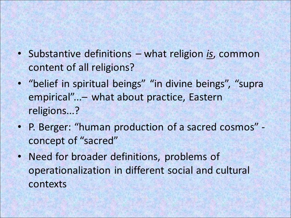 Functional definitions – what religion does M.