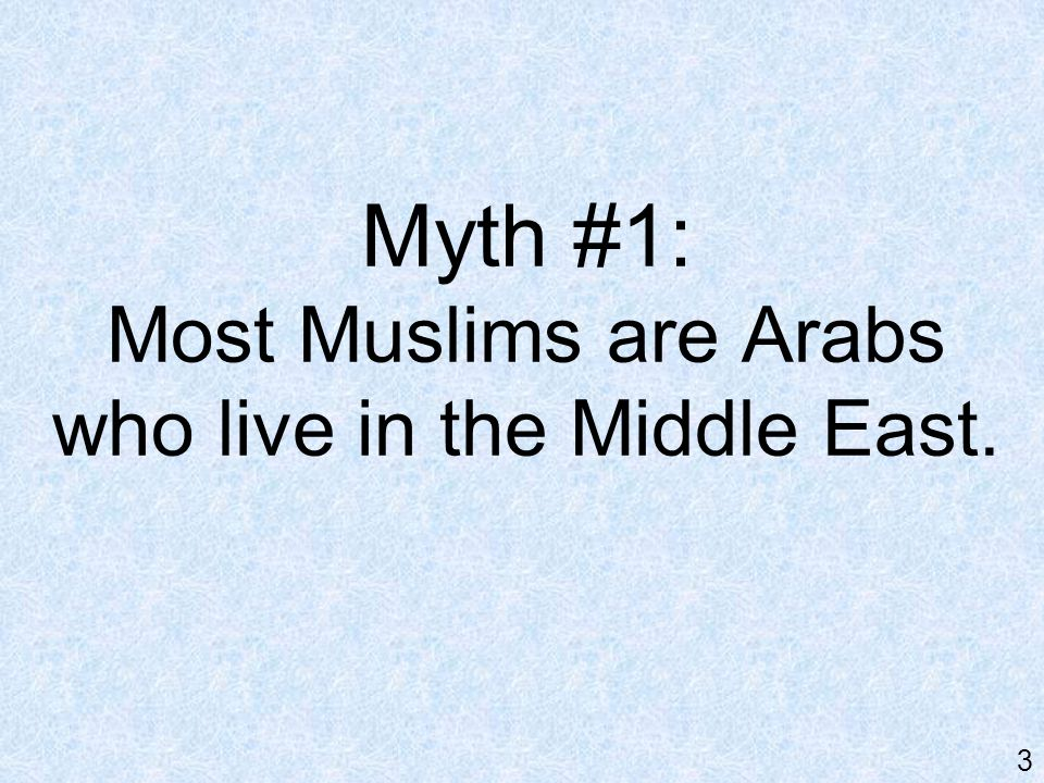 Reality: Of more than 1 billion Muslims worldwide, only about 1/5 are Arabs. 4