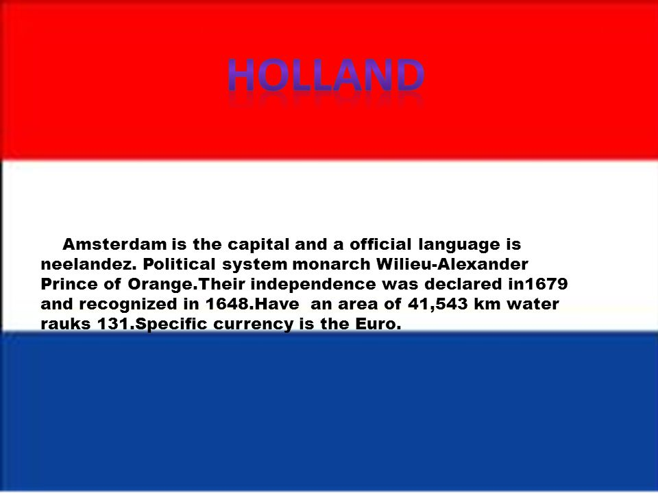 Amsterdam is the capital city under te Constitution and the Hague is the seat of gouvernement.