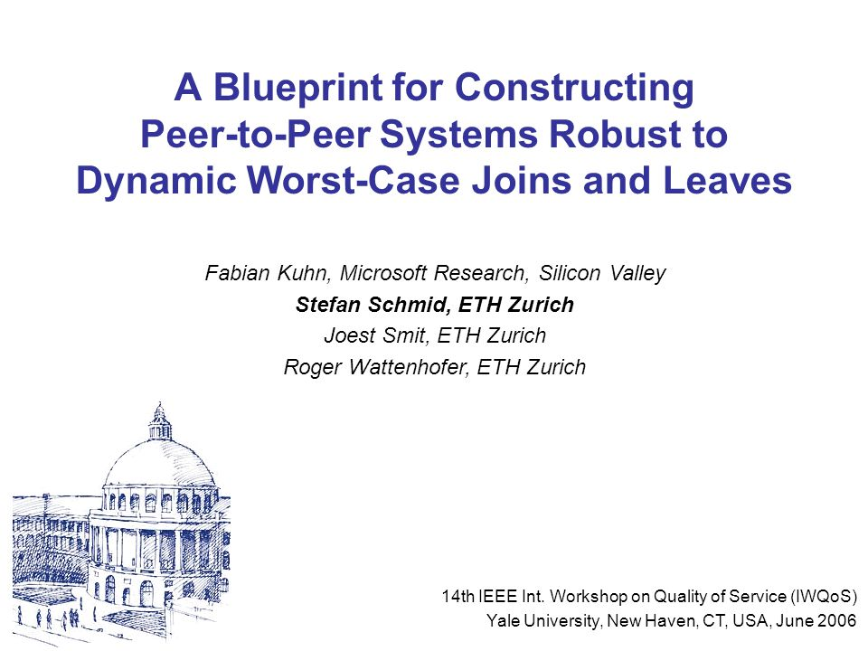 "Stefan Schmid, ETH Zurich @ IWQoS 20062 Brief Intro to Peer-to-Peer Computing (1) P2P computing = power by accumulating distributed resources (CPU cycles, disk space, …) vs Client / Server -Centralized (""one machine ) -Bottleneck -Single Point of Failure -… Peer-to-Peer -Decentralized (""all machines ) -Scalable -Efficient -…"