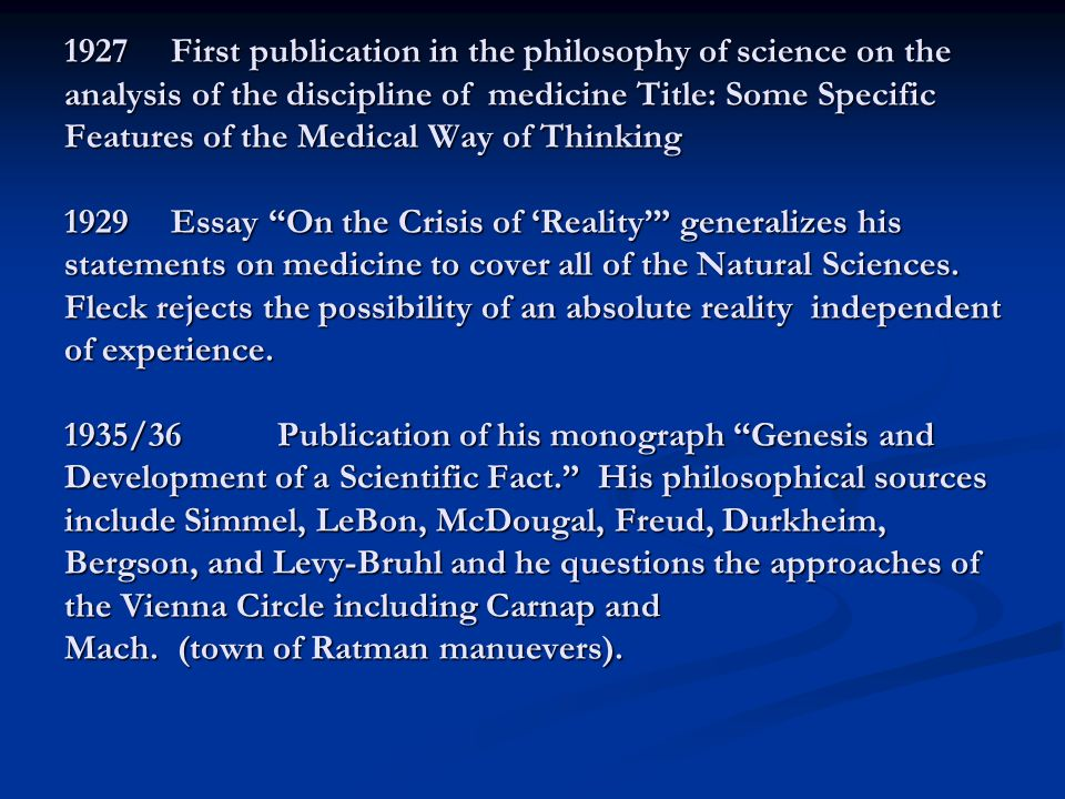 The sociology of Scientific Knowledge: SSK Fleck's seminal contribution was the idea that scientific discovery is impacted by social, cultural, historical, personal, and psychological factors.