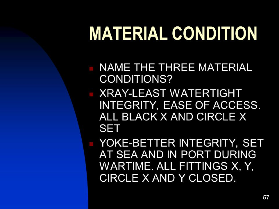 58 MATERIAL CONDITIONS ZEBRA: SET WHEN GQ SOUNDED, ENTERING/LEAVING PORT IN WAR, WHEN CO DEEMS NECESSARY SPECIAL CLASSES: CIRCLE ZEBRA, OPENED WITH PERMISSION OF CO ONLY.