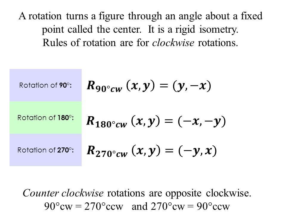 N(1, -4)  N (-4, -1) (270 ° CCW rotation) T' N' S' Rotate ∆TSN 90°cw (x, y)  (y, -x) T(-1, 1)  T (1, 1) S(4, -1)  S (-1, -4)