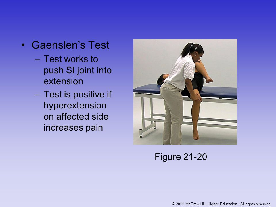 Testing the Tensor Fasciae Latae and Iliotibial Band Renne's test –Athlete stands w/ knee bent at 30-40 degrees –Positive response of TFL tightness occurs when pain is felt at lateral femoral condyle Figure 21-21 © 2011 McGraw-Hill Higher Education.