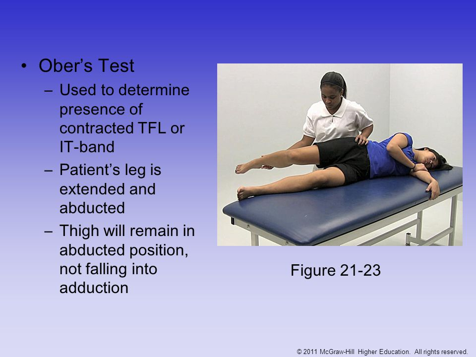 Trendelenburg's Test - Iliac crest on unaffected side should be higher when standing on one leg - Test is positive when affected side is higher indicating weak abductors (glut medius) Figure 21-24 A & B © 2011 McGraw-Hill Higher Education.