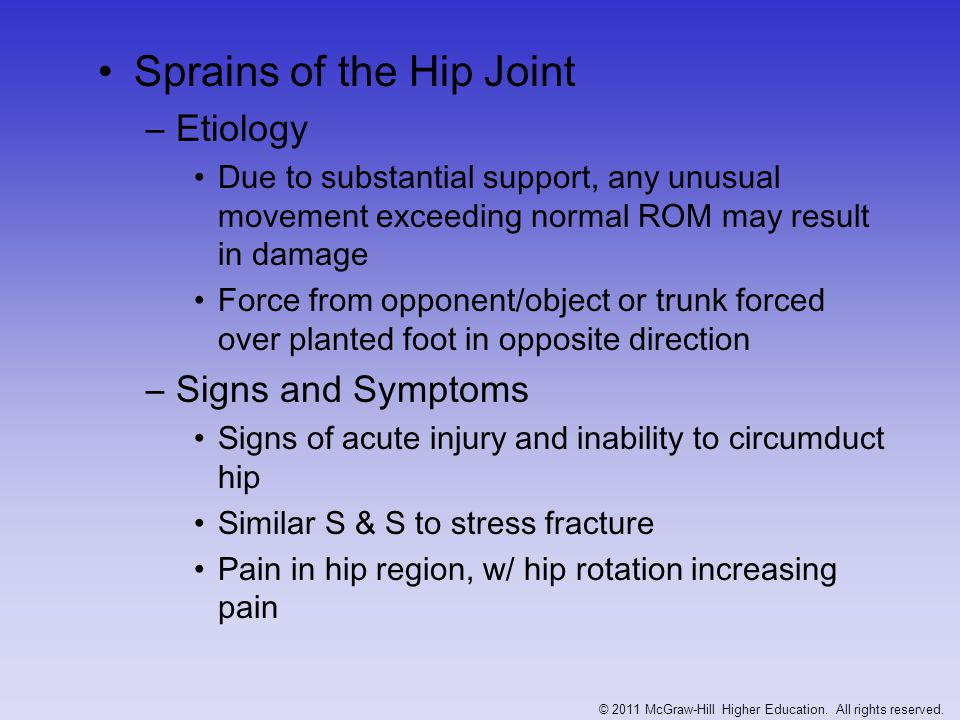 –Management X-rays or MRI should be performed to rule out fx RICE, NSAID's and analgesics Depending on severity, crutches may be required ROM and PRE are delayed until hip is pain free © 2011 McGraw-Hill Higher Education.