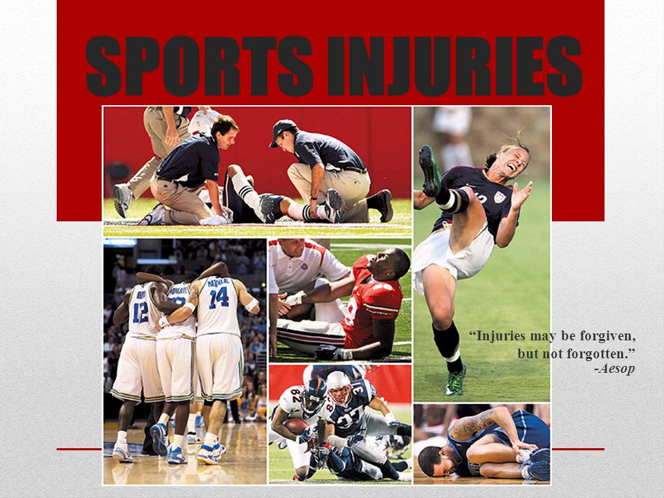 Most Common Sports Injuries Groin Sprains Shin Splints Neck Stains Lower Back Injury Pulled Muscles Fractured bones Rotator Cuff tendinopathy Tennis Elbow Ankle Sprain Runner's Knee Achilles Tendiopathy Knee Ligament rupture