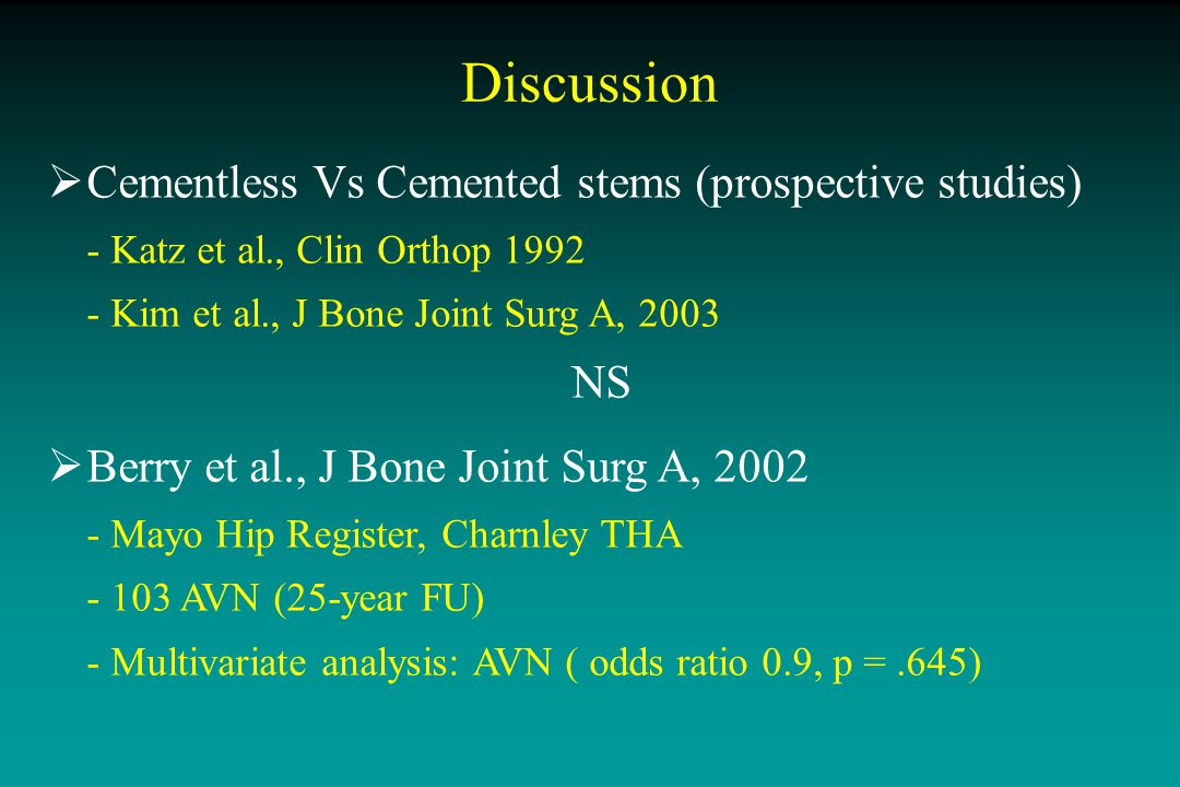 Conclusion  Current study - single implant, single technique - min 10-year FU  Low friction = GOLD STANDARD - wear < 0.1 mm/year - highly cross-linked PE .
