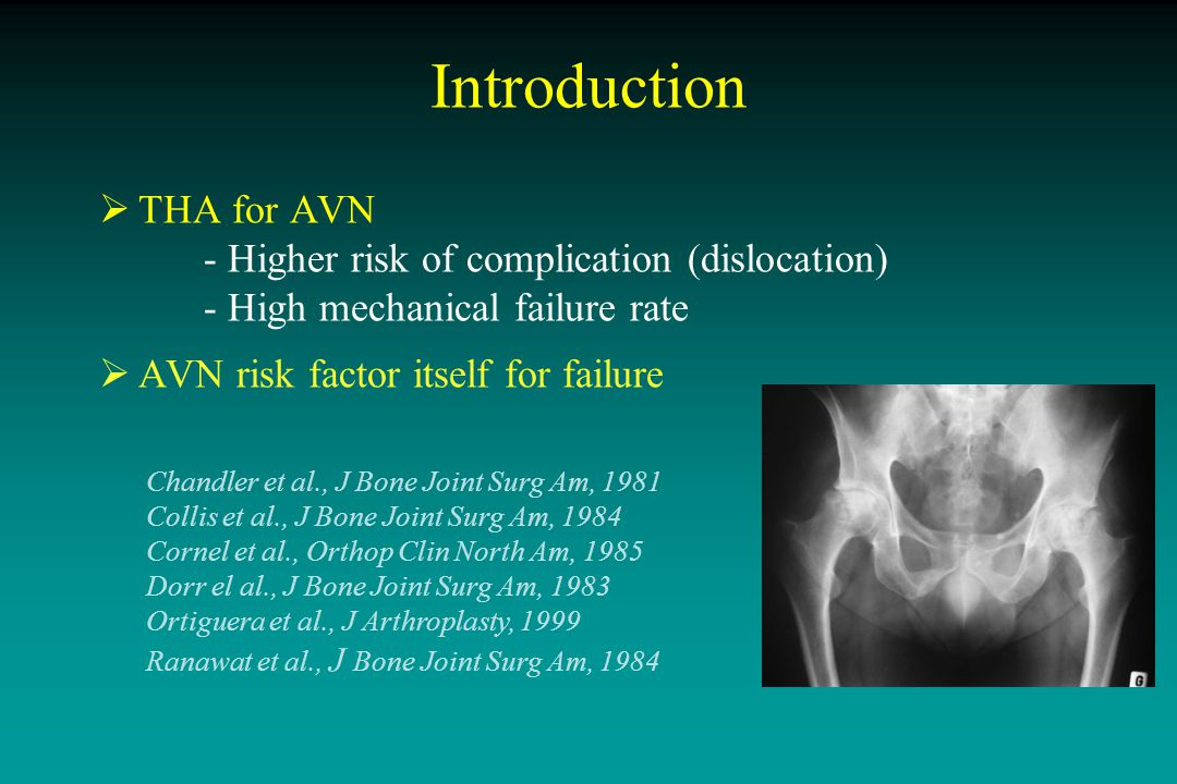 Clinical and Radiographic outcome of Charnley-Kerboull THA in AVN Minimum 10-year follow-up Predictive factors Aim: