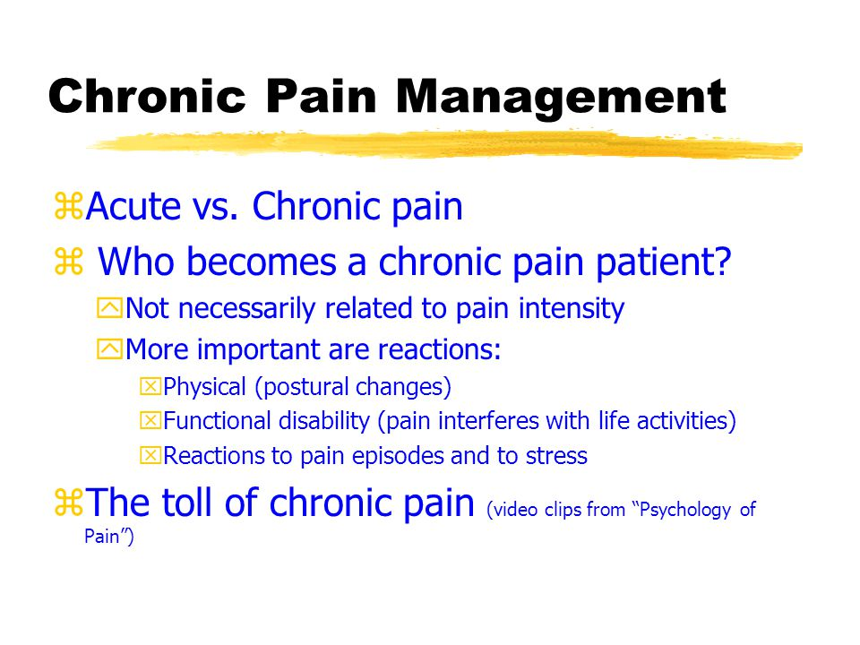 The toll of chronic pain zDysfunction yreport high levels of pain, feel they have little control over their lives, and are extremely inactive zInterpersonal distress yperceive little social support and feel other people in their lives don't take their pain seriously yoften poor communication ysexual relationships deteriorate zCost yHuge medical bills yUndergone many treatments (e.g., multiple surgeries) and rely on painkillers yJob loss/disability