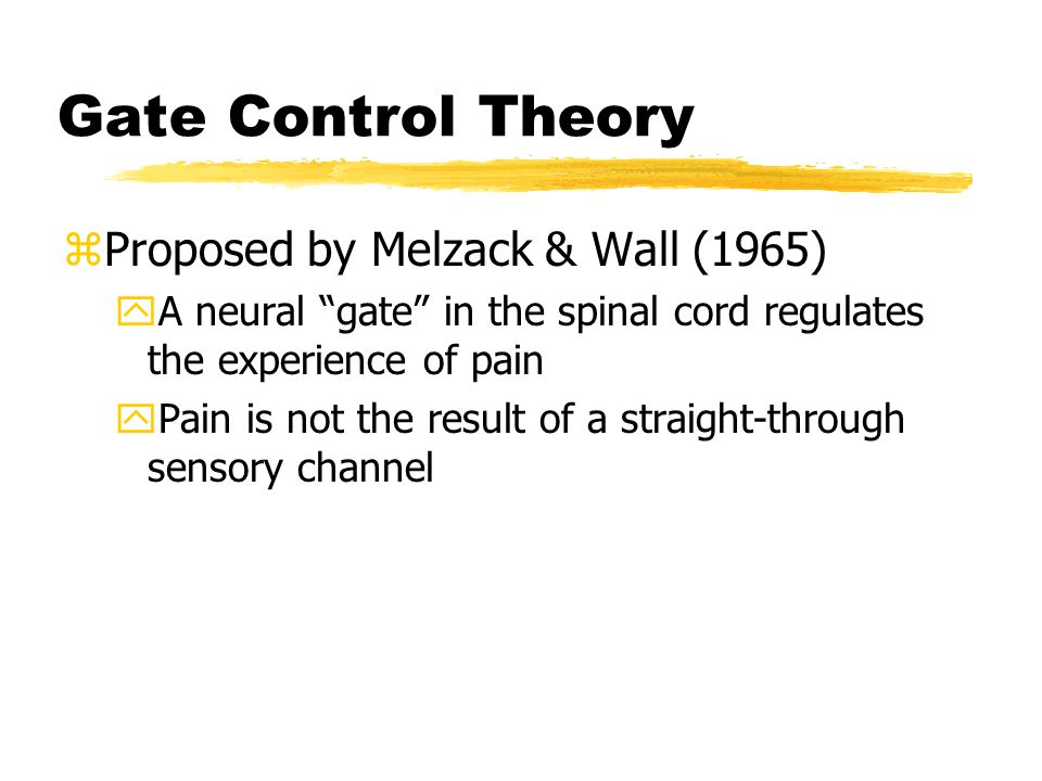 The Gate Control Theory of Pain