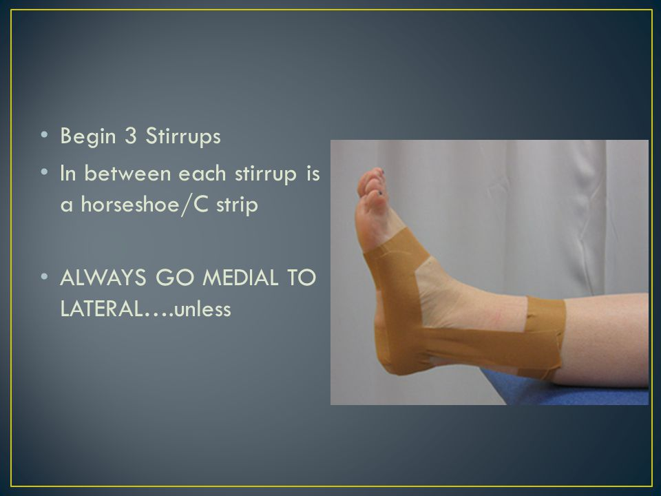 Once 3 stirrups and C strips are in place 4 heel locks 2 medial 2 lateral 2 figure 8s