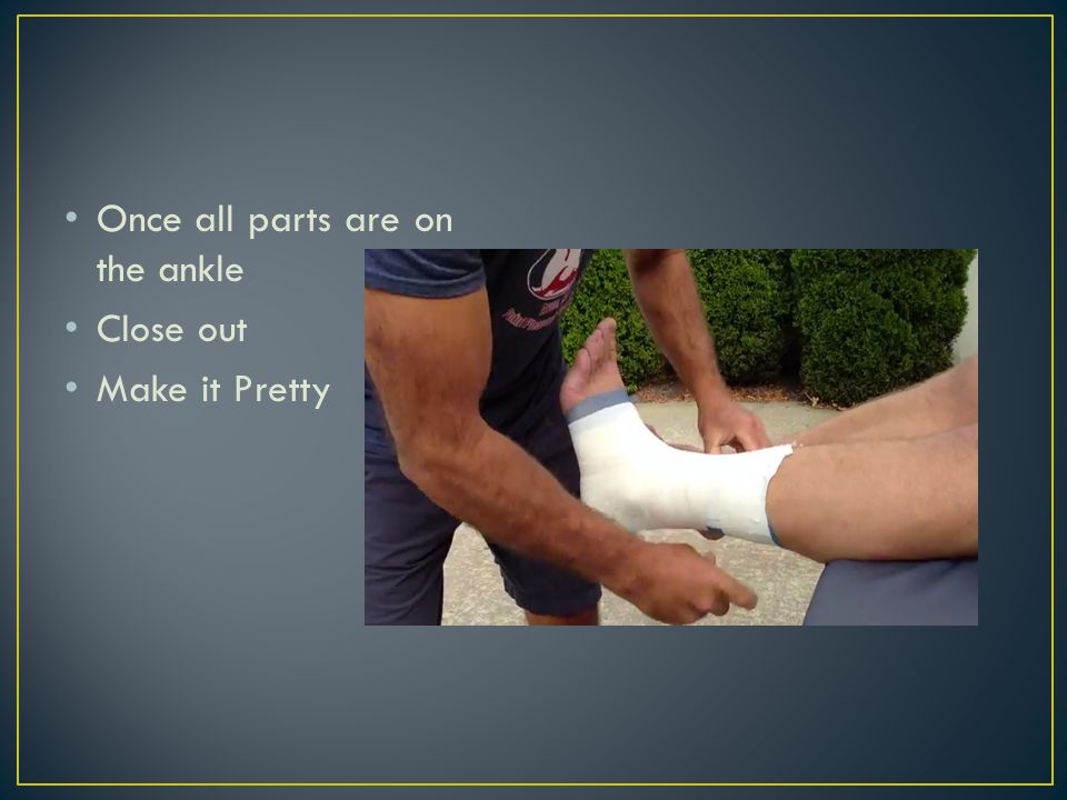 1.Spray 2.Heel and Lace Pads 3.Pre-Wrap 4.2 Anchors 5.3 Stirrups 6.3 C Strips 7.4 Heel locks 1.2 medial 2.2 lateral 8.