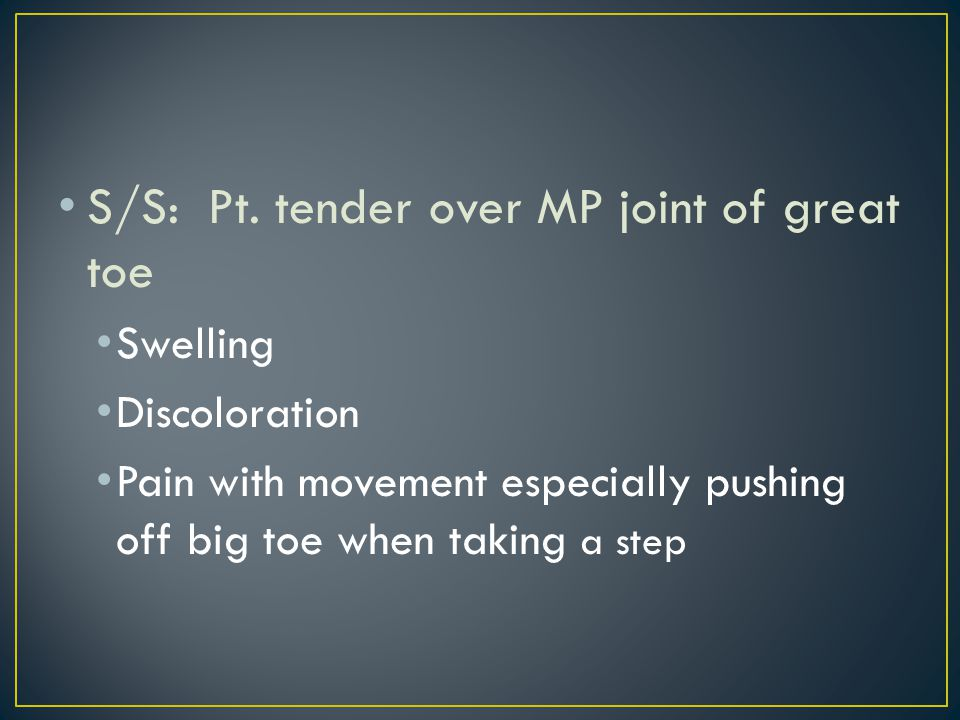TX: Rest, ice, compression Insert a hard insole into shoe to prevent hyperextension of MP joint Tape for hyperextension