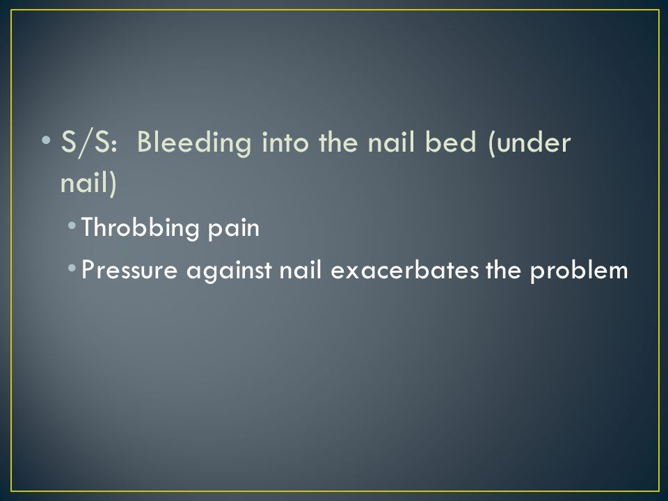 TX: drain the blood from the nail