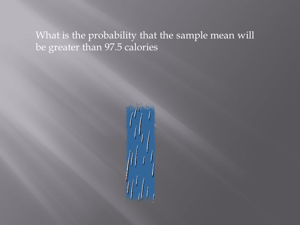 What is the probability that the sample mean will be greater than 97.5 calories