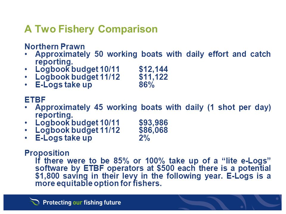 E- logs, 2011 and further Priorities for AFMA Improved fisher acceptance and participation.