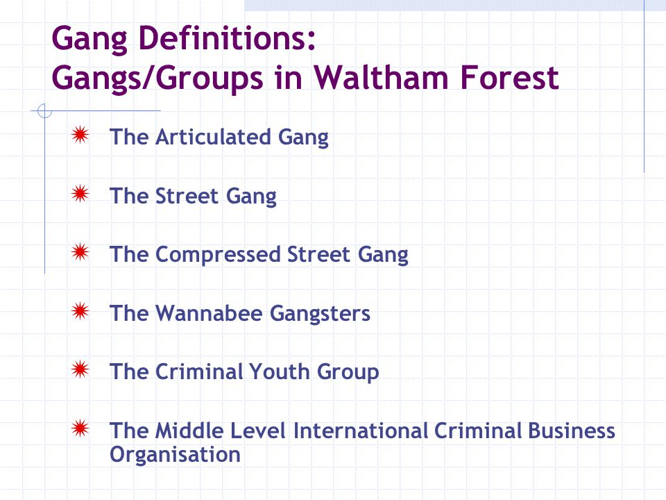 Key Antagonistic relationships between gangs Alliances Between Gangs Out of Borough Gangs Gang Affiliations in Waltham Forest Piff City Beaumont Priory Court Harlesden Crew Hackney: Love of Money Crew, Holly St.