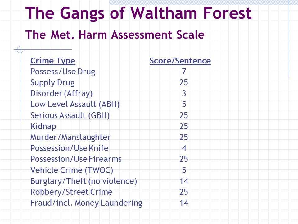 The Gangs of Waltham Forest The Met.Harm Assessment Scale  Beaumont (30-40)198 (max.