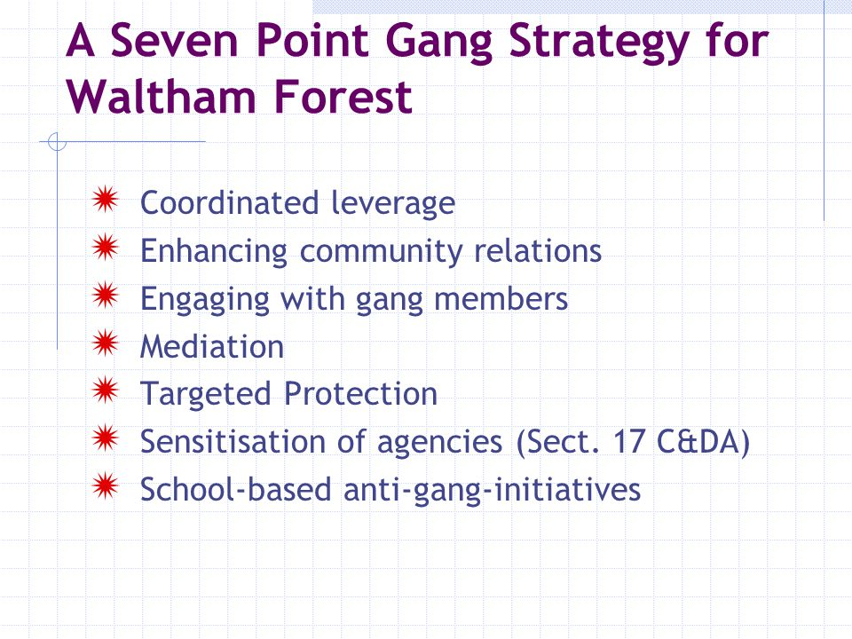 5 A Four level Gang Intervention Model The Intervention The TargetGroup Level 1.PPO/Police/Trident/ISSP This level of work is undertaken by MMAGS and X-it Targeted intervention with core gang members: Elders/Youngers, enforcement, intensive problem- solving, mediation and the development of alternative futures via education, training and employment Level 2.YIP/ Extended School/FE Colleges and Specialist Voluntary Youth Serving Agencies.