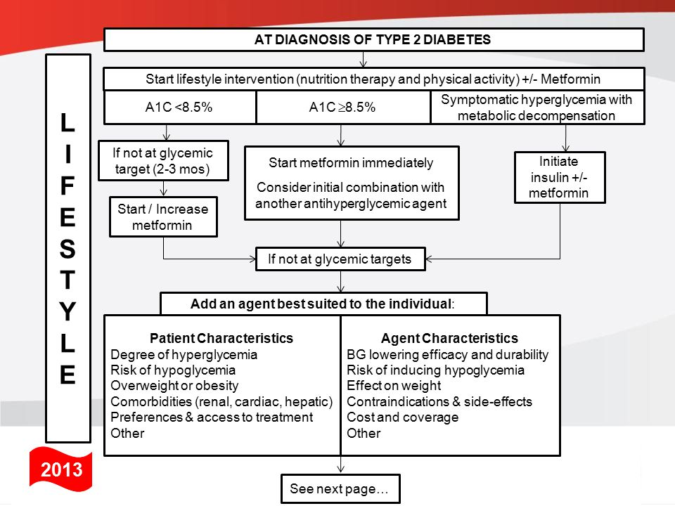 If not at glycemic target From prior page… Add another agent from a different class Add/Intensify insulin regimen Make timely adjustments to attain target A1C within 3-6 months 2013 LIFESTYLELIFESTYLE