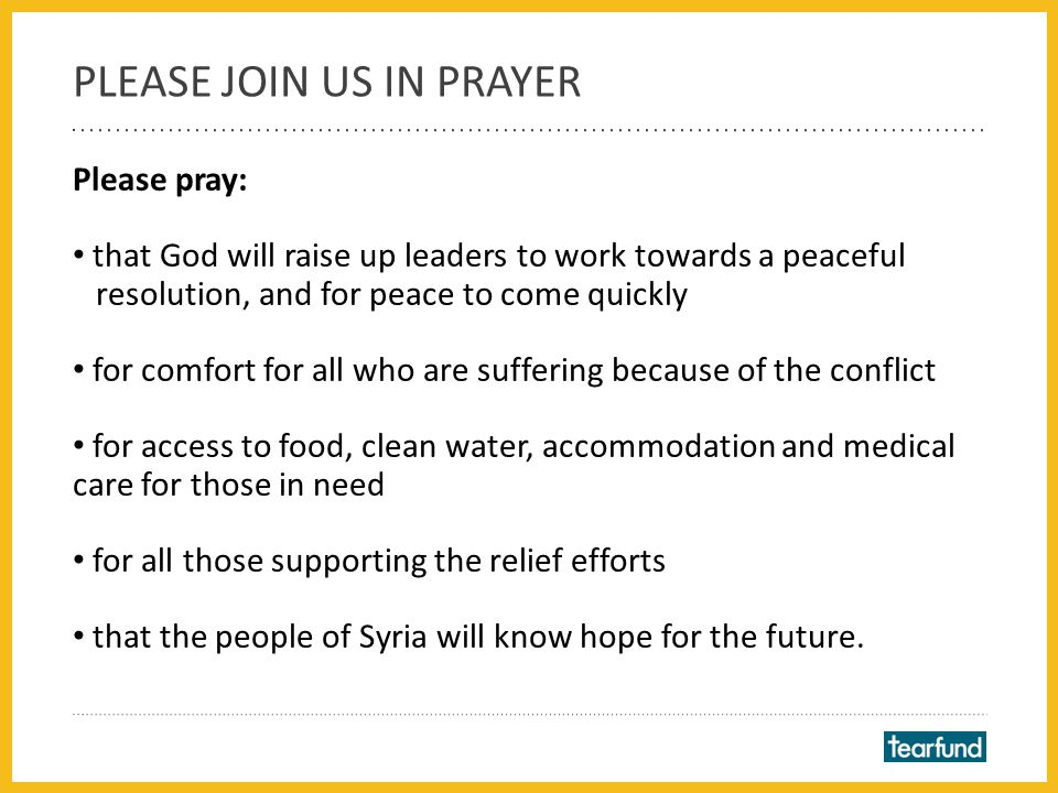 Loving heavenly Father, With heavy hearts we lift before you the people of Syria.