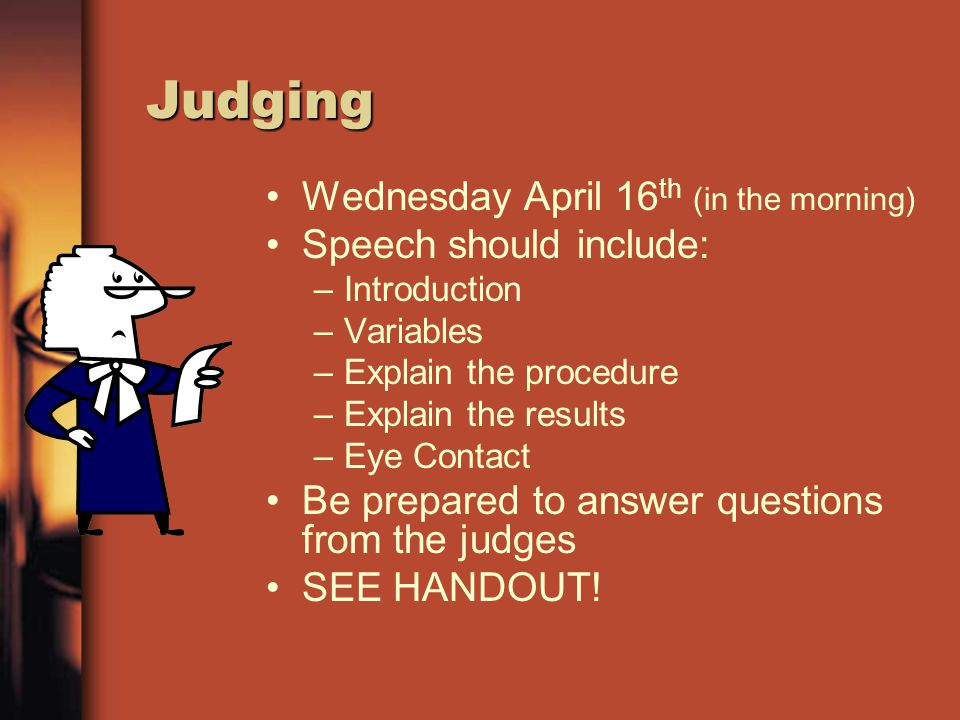 Judge's Rubric (See packet)