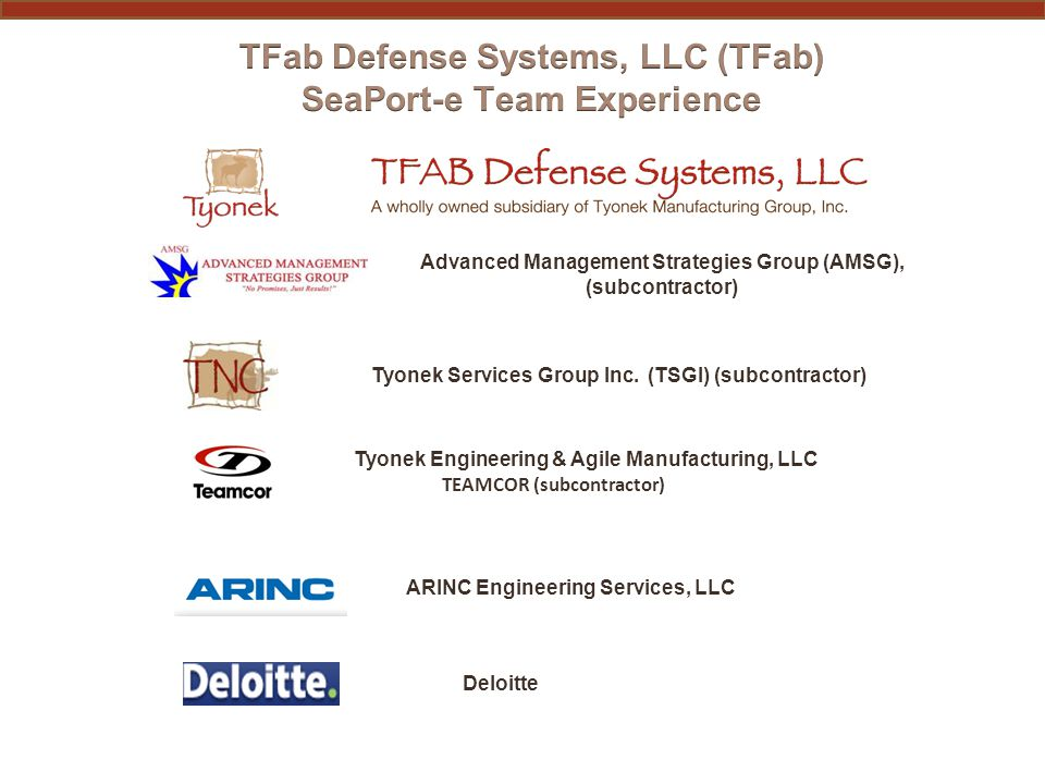 TFab Defense Systems, LLC (Prime) 229 Palmer Road Madison, Al.