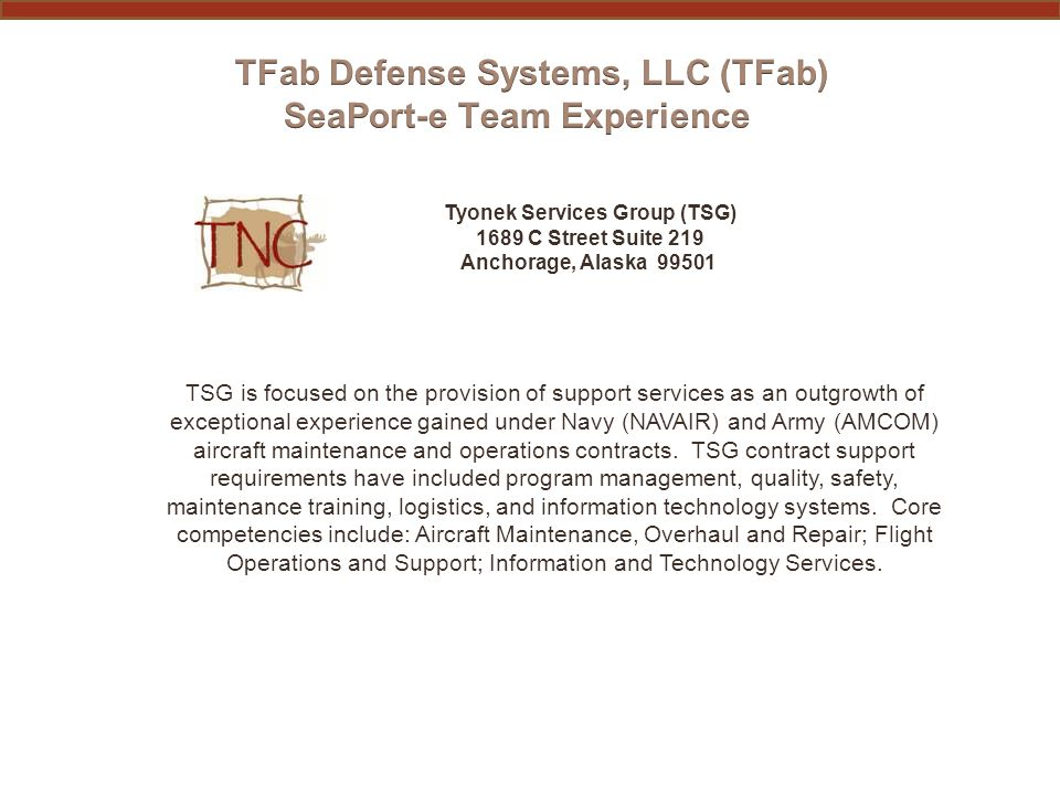 PAST PERFORMANCE INFORMATION TYONEK SERVICES GROUP (TSG) (subcontractor) Functional AreaContract No.