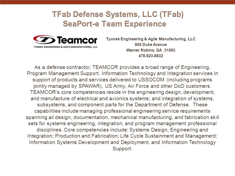 PAST PERFORMANCE INFORMATION TEAMCOR (subcontractor) Functional AreaContract No.