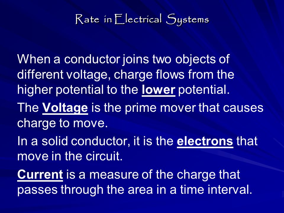 Electric current (I) = Charge / time Charge is measured in Coulombs (C).