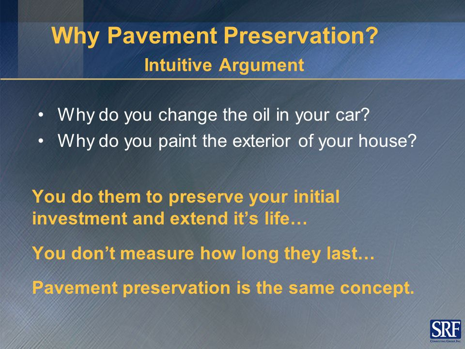 Pavement Lifecycle Typical Maintenance & Rehabilitation Strategies 0 20 40 60 80 100 Years PSI (Pavement Serviceability Index) Routine Maintenance Defer Action Rehabilitation Reconstruction Pavement Preservation