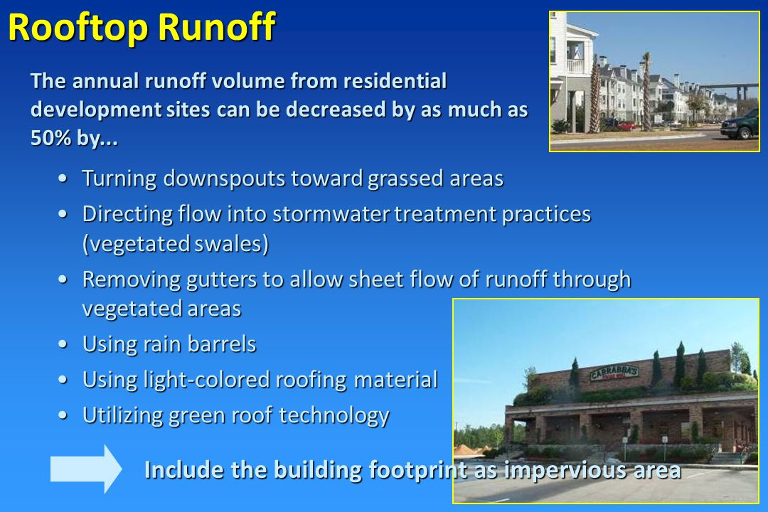 Drainage Curb and gutter systems…do not treat stormwater and contribute to floodingCurb and gutter systems…do not treat stormwater and contribute to flooding Vegetated channels remove pollutants on-site and raise times of concentrationVegetated channels remove pollutants on-site and raise times of concentration Bio-retention areas can be used in parking lots to meet landscape requirementsBio-retention areas can be used in parking lots to meet landscape requirements Sand filters use layers of sand to filter pollutantsSand filters use layers of sand to filter pollutants Permeable pavers allow runoff to naturally filter into groundwaterPermeable pavers allow runoff to naturally filter into groundwater On-site drainage systems range from simple grassed swales to more complex bio-retention medians and sand filters…