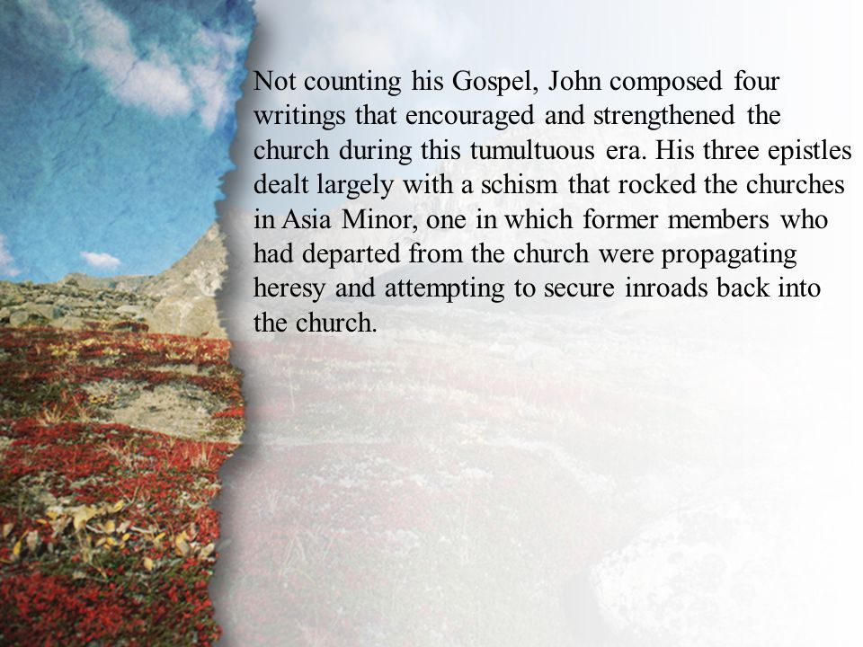 Introduction John wrote another work, the Book of Revelation, during a period of unsettling persecution and addressed the church's struggle with complacency, spiritual lukewarmness, heresy, and immorality.